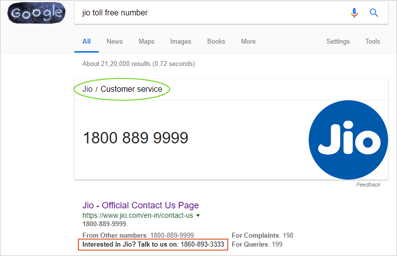 By itself using a Toll free number, Jio proves its importance